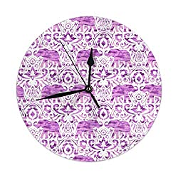 9.8 Inch Round Wall Clock,Elephant Damask Watercolor Pink Purple Silent Non Ticking Decorative Clocks for Kitchen, Living Room, Bedroom, Office