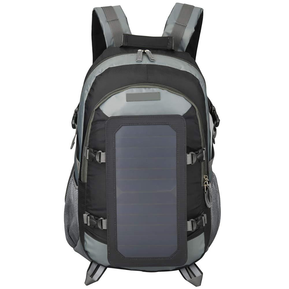 登山リュック 40 L,と 太陽携帯電話充電器 リュック 旅行 スポーツ 登山バックパック キャンプ 自転車 防水 超軽量 軍隊 B07JNV4B4D ブラック
