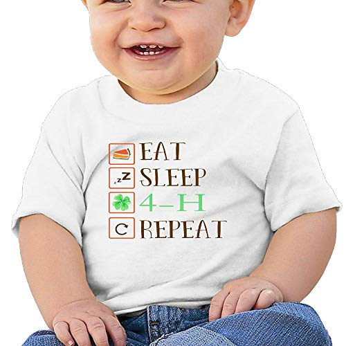 2045d5311f85 BCOWBONEOWGDF Unisex Baby Boys Girls Chit Cool Eat Sleep 4-H Repeat Cotton  T Shirt T Shirts 18 Months White