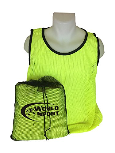 World Sport 12 Pack Youth Yellow Scrimmage Vests with Carry Bag