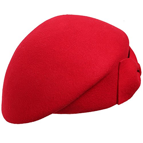 Sedancasesa Fashion Women's Wool Felt Hats Beret Cap Millinery with Bow (Red)