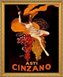 "Asti Cinzano, с. 1920 by Leonetto Cappiello. Vintage Wine Advertising Poster Reproduction. Framed (18 1/8"" X 22 1/8"", Custom Made Real Wood Gold Traditional Frame #15)"