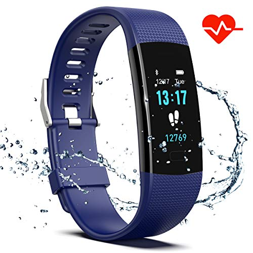 Saikee Fitness Tracker, Activity Tracker Watch with Heart Rate Monitor, Sleep Monitor, Step Counter Fitness Watch IP67 Waterproof Pedometer, Compatible with iPhone & Android ()