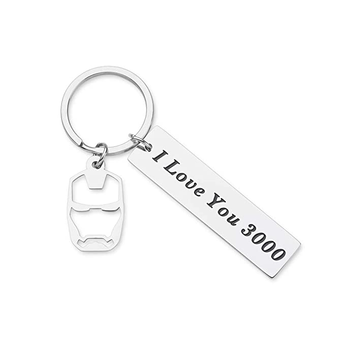 I Love You 3000 Keychain for Boyfriend Girlfriend Iron Man Gift for Dad Comic Movie Inspired Gift Avengers Endgame Avengers Fan Gift Tony Stark Gift ...