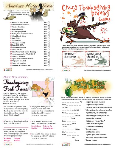 Printable Thanksgiving Party Games Pack [Download] by Python Printable Games
