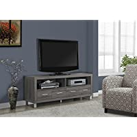 Dark Taupe Reclaimed-Look 60L TV Console with 4 Drawers