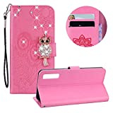 Moiky Glitter Diamond Flip Wallet Case for Samsung Galaxy A7 2018,Embossed Owl Flower PU Leather Case for Samsung Galaxy A7 2018,Luxury Pink 3D Bling Rhinestone Owl Magnetic Closure Stand Cover