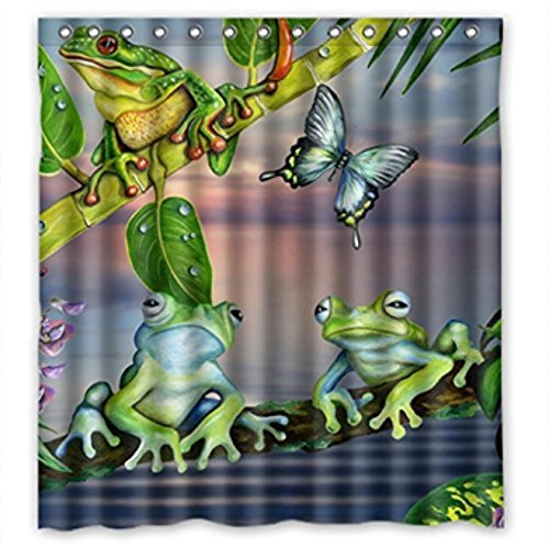 Home&Family Cartoon Butterfly Frog Green Leaves High Quality Fabric Bathroom Shower Curtain with Hooks 66 x 72 Inches Frog Bathroom Decor