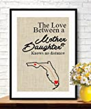 Boston Creative company Mom gifts Personalized Gifts - photo props - burlap print - Custom Burlap Print - Love between a Mother & Daughter Knows No Distance - grandma gifts # 011