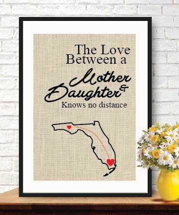 Attractive Burlap Print - Valentine's Day Gift- Love Between a Mother & Daughter Knows No Distance Burlap Wall Decor Mom Gift Map Art Print Long Distance Love Mom Birthday Gift # 011