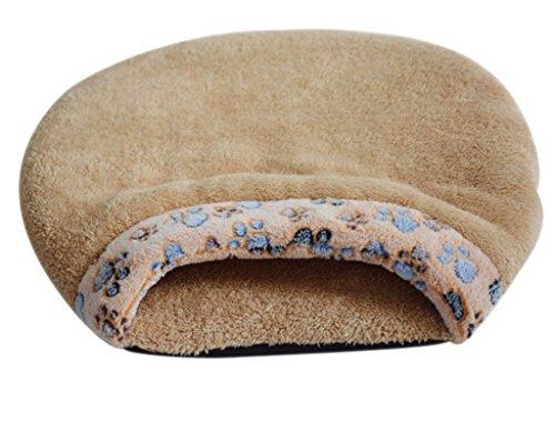 Luoke Cat Sleeping Bag Warm Soft Puppy Burrow Cat Kitten Cave Igloo Nest Sleeping Bag Bed (Brown)