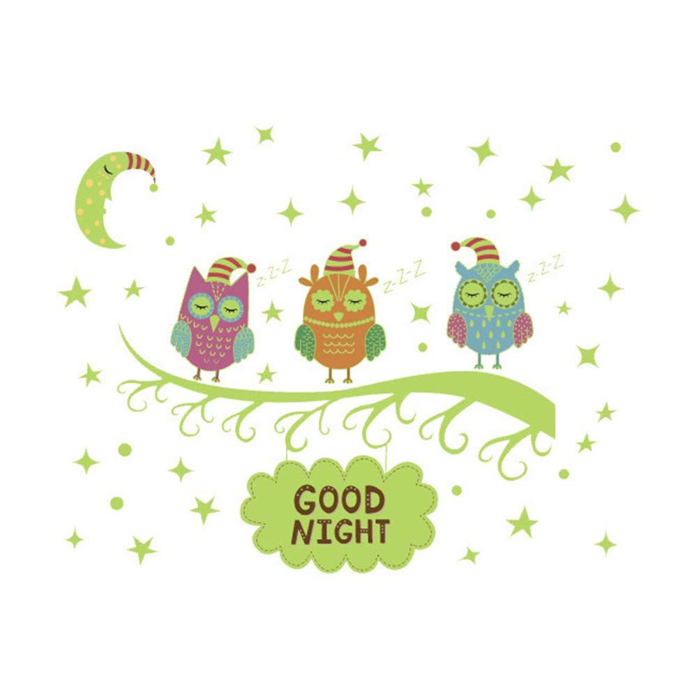 VORCOOL Cartoon Owl Fluorescente Adesivo da Parete Camera dei Bambini Scuola Materna Decorazione da Parete