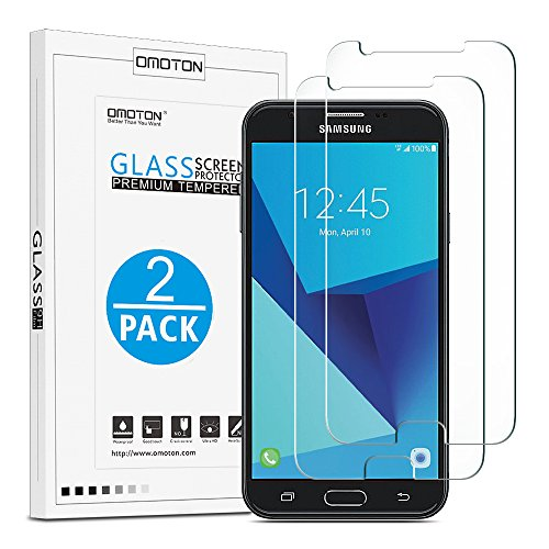 OMOTON Tempered Glass Screen Protector for Samsung Galaxy J7 2017/J7 V/J7 Sky Pro/J7 Perx [5.5 Inch](2017 Released), [2 Pack] (Smartphone Glass Screen Protector)