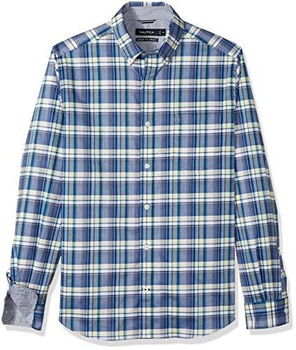 Nautica Mens Ls Wrinkle Resistant Stretch Poplin Plaid Button Down Shirt
