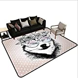 Rugs for Kitchen Floor Alaskan Malamute,Vintage Polka Dots and Dog Wearing Floral Wreath and Sunglasses,Rose Gold Black White,for Living Room Bedrooms Kids Nursery Home Decor 2'x 3'