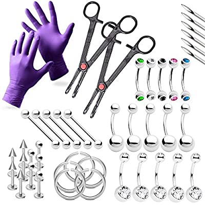 43-Piece Piercing Kit Lip, Belly, Eyebrow, Tongue, Ear Piercing Jewelry Needles,Gloves and Tools Included