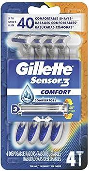 Gillette Sensor3 Men's Disposable Razor, 4 Razors (packaging may v