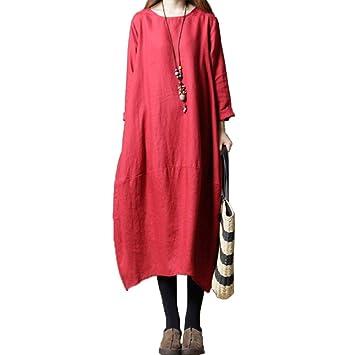 WFF Señoras versión coreana de vestido suelto, falda larga de ...