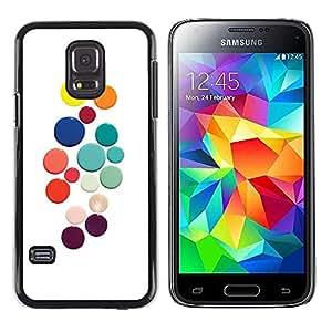 PC/Aluminum Funda Carcasa protectora para Samsung Galaxy S5 Mini, SM-G800, NOT S5 REGULAR! Color White Dots Colorful / JUSTGO PHONE PROTECTOR