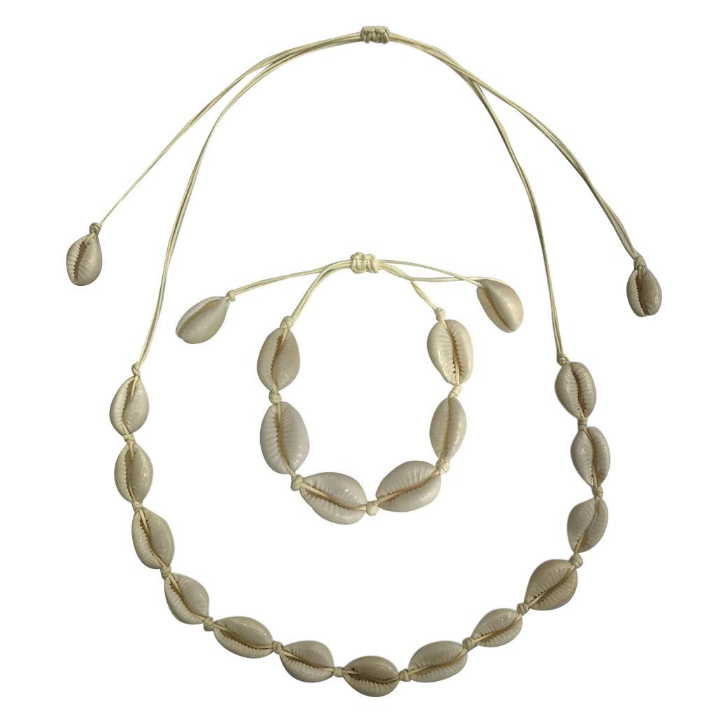 Seashell Necklace Choker And Bracelet Set,Haluoo Boho Cowrie Shell Necklace Natural Shell Beads Handmade Hawaii Wakiki Beach Choker Bohemian Corded Seashell Necklace And Bracelet For Women Beige