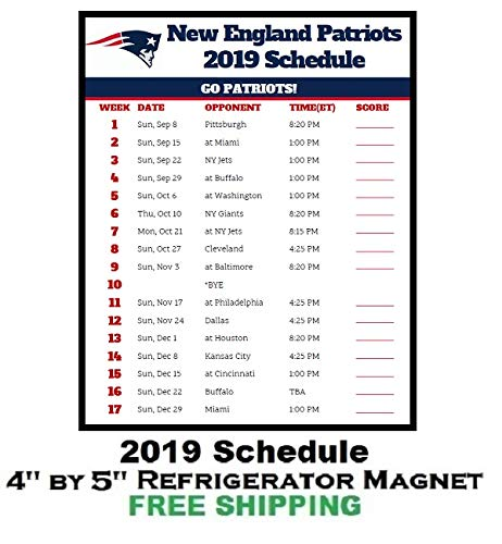 Patriots Schedule 2019 Amazon.com: New England Patriots NFL Football 2019 Schedule and