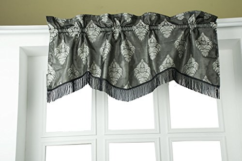(The Silk Cocoon Black & Silver Design Woven Fabric with Fringed lace Trim Scalloped 50
