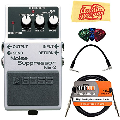 Boss NS-2 Noise Suppressor Bundle with Instrument Cable, Patch Cable, Picks, and Austin Bazaar Polishing ()