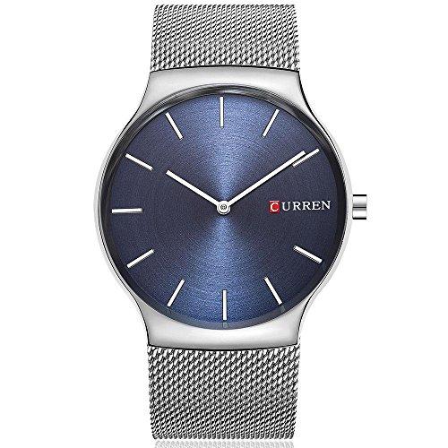CURREN Original Mens Sports Waterproof Stainless steel Wrist Watch Good Quality 8256 Silver Blue