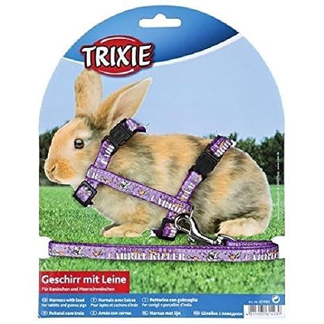 Trixie - Arnés de Nailon para Perro, con Cuerda para Conejos y ...