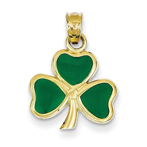 Leaf Tri Color Gold Pendant - 14K Yellow Gold Enameled 3 Leaf Clover Pendant - (0.87 in x 0.59 in)