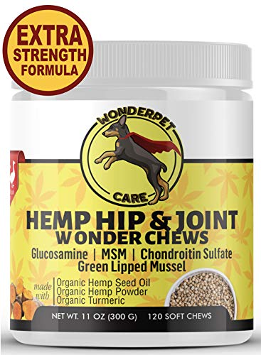 WonderPet Care Hemp Hip & Joint Supplement for Dogs Chondroitin Glucosamine MSM Hemp Oil Hemp Powder Turmeric | Extra Strength Formula for Arthritis Pain Relief & Mobility Increase | 120 Soft Chews (Best Way To Treat Kennel Cough)
