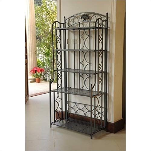 Pemberly Row Iron Bakers Rack in Pewter