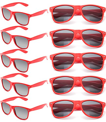Wholesale Unisex 80'S Retro Neon Party Favor Sunglasses Bulk for Adults 10 Pack(Red)