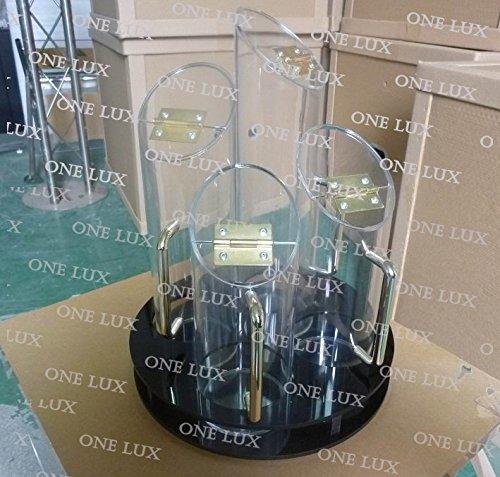 ONE LUX Acrylic 4 Tube Cereal Dispenser,Black Lucite Food Jar Organizer,Perspex Tableware