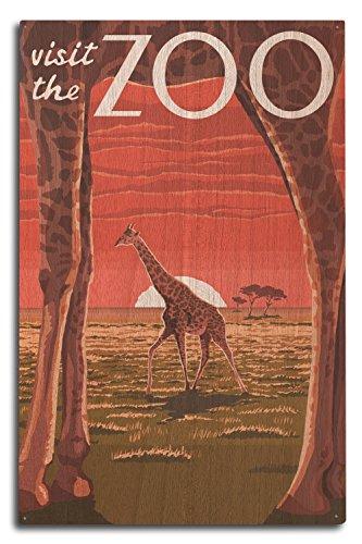 (Lantern Press Giraffe - Visit The Zoo (10x15 Wood Wall Sign, Wall Decor Ready to Hang))