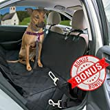 Deluxe Quilted Pet Seat Cover for Cars Includes FREE Dog Seat Belt, Hammock Style Non Slip Waterproof Cover Protects Car, Trucks and SUVs Back Seats from Pets Fur, Mud, Scratches, Etc.by LikePuppy Review