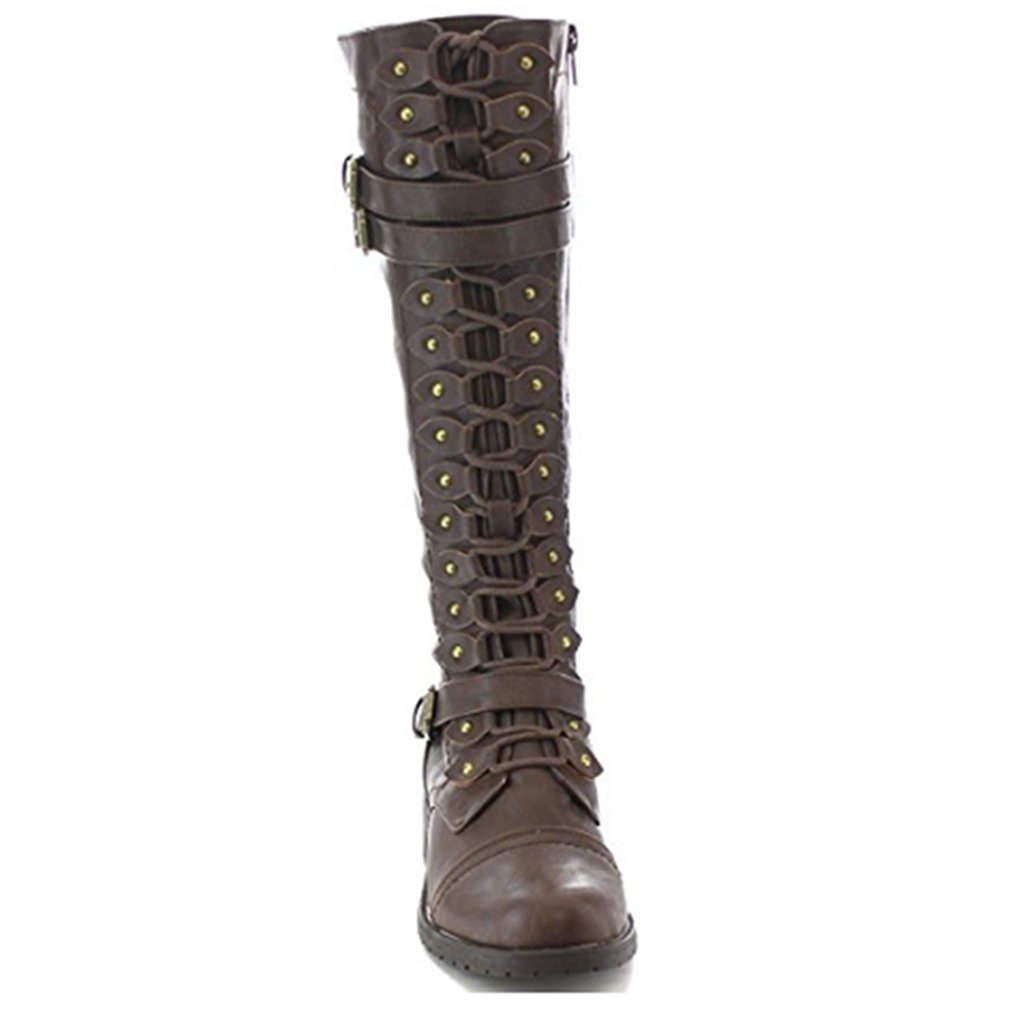 GUAngqi Womens Knee High Lace Up Buckle Fashion Military Combat Boots PU-Leather Riding,brown