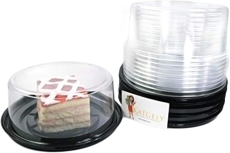 Katgely 6 Inch Smoothwall Cake Container with Low Dome for Cheesecake (Pack of 15)