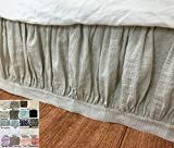 Linen Bed Skirt with Band Border, 40 shades, customizable, Contemporary and elegant!