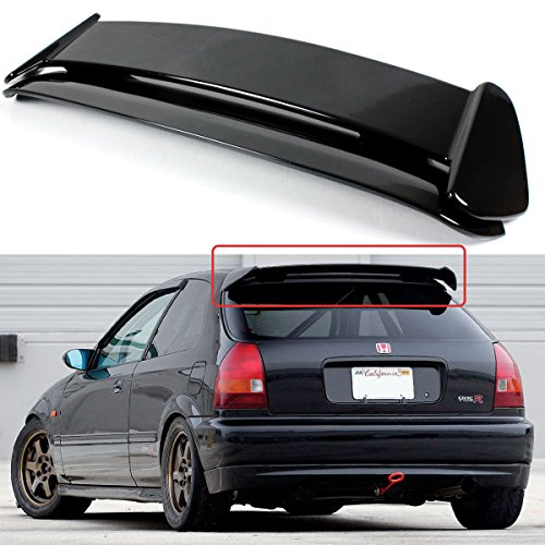 (Cuztom Tuning Fits for 1996-2000 Honda Civic 3 Door Hatchback Gloss Black Type-R Style Roof Spoiler Wing )