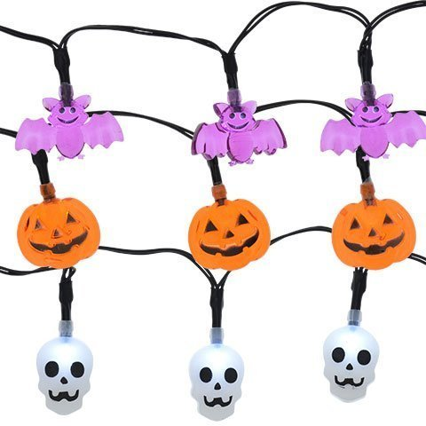 LED Lights 10 Count Toddlers Kids Jack O Lantern Scary Spooky Creepy Turkey Harvest Halloween Party Indoor Outdoor Decoration Decorations Decor Haunted House Skull Bat Pumpkins Bundle 3