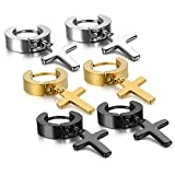 Oidea 6pcs Assorted Color Stainless Steel Hinge Huggie Hoop Cross Drop Earrings