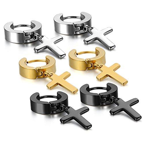 Oidea 6pcs Stainless Steel Huggie Hoop Cross Drop Earrings for Men Women,Hypoallergenic ()