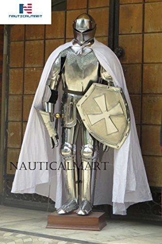 - NAUTICALMART Knight Full Suit of Armor Custom LARP Halloween Costume Cloak, Shield, Sword, Chainmail