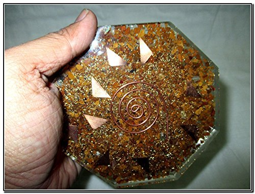 Jet Wow Yellow Jasper Orgone Vastu Plate Energy Generator Crystal Gemstones Unique Rare Science Construction Vedic Astrology (Christmas Jasper Plate)