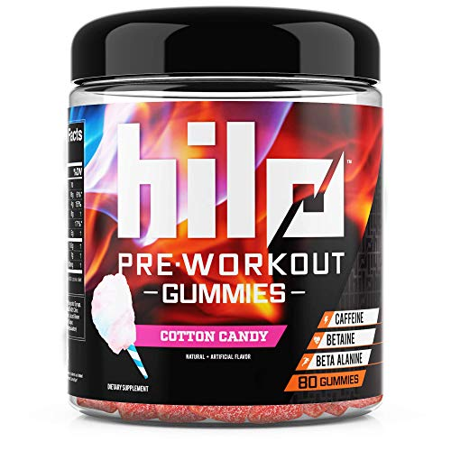 Hilo Pre Workout Gummies - Workout Booster with Caffeine, Beta Alanine and Betaine - Cotton Candy Flavor, 80 Count