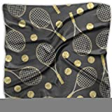 Silk Small Square Scarf - Breathable Lightweight Neckerchief -Funny Colourful Tennis Racquets And Tennis Balls Digital Printed Headscarf