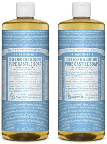 Dr. Bronners Pure-Castile Liquid Soap Value Pack - Baby Unscented 32oz. (2 Pack)