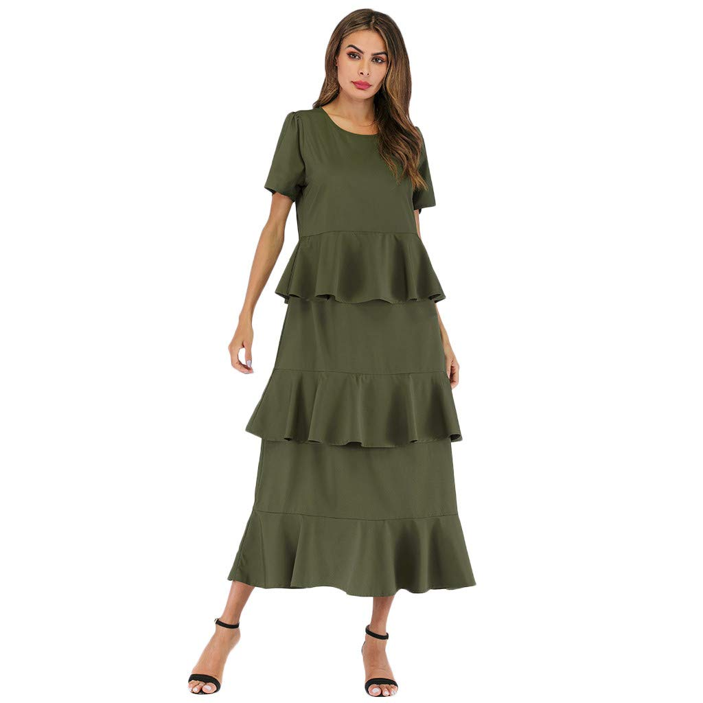 Army Green Medium Army Green Medium Ximandi Women's Solid Middle East Ruffled O-Neck Short Sleeve Long Dress Ladies Party Maxi Dress