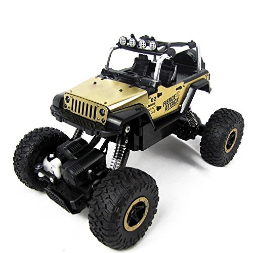 STOTOY RC Cars Off-Road Rock Crawler Racing Vehicle 2.4Ghz 4WD High Speed 1:18 Radio Remote Control Buggy (Gold)